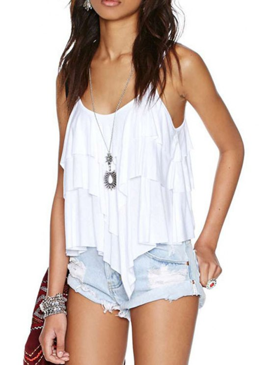 best Spaghetti Strap White Backless Tank Top - WHITE S