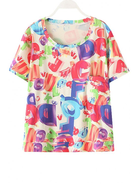 buy Round Neck Letter Print Pocket Design T-Shirt - COLORMIX ONE SIZE(FIT SIZE XS TO M)