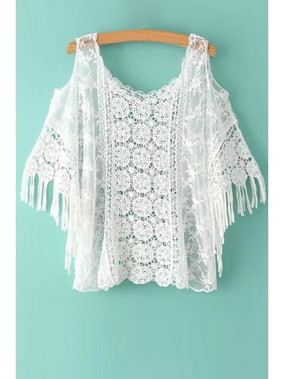 sale Floral Pattern Lace Hollow Out Short Sleeve T-Shirt - WHITE ONE SIZE(FIT SIZE XS TO M)