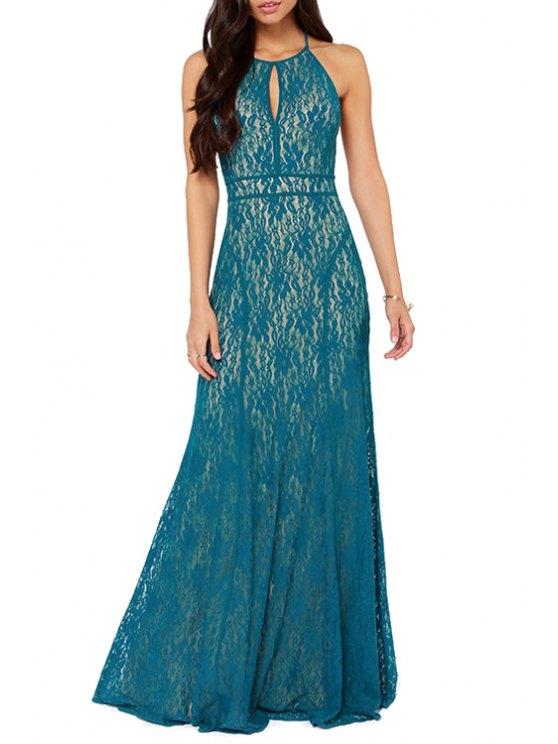 women Lace Spaghetti Strap Backless Maxi Dress - LAKE BLUE S