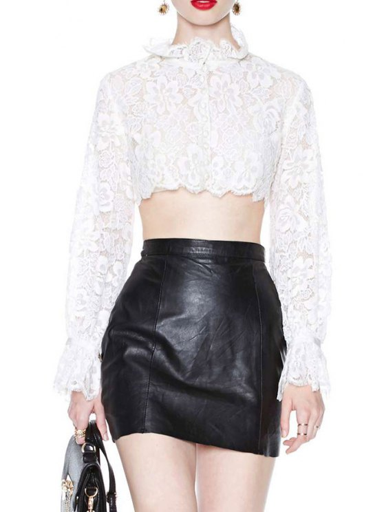 best Lace White Long Sleeve Crop Top - WHITE S
