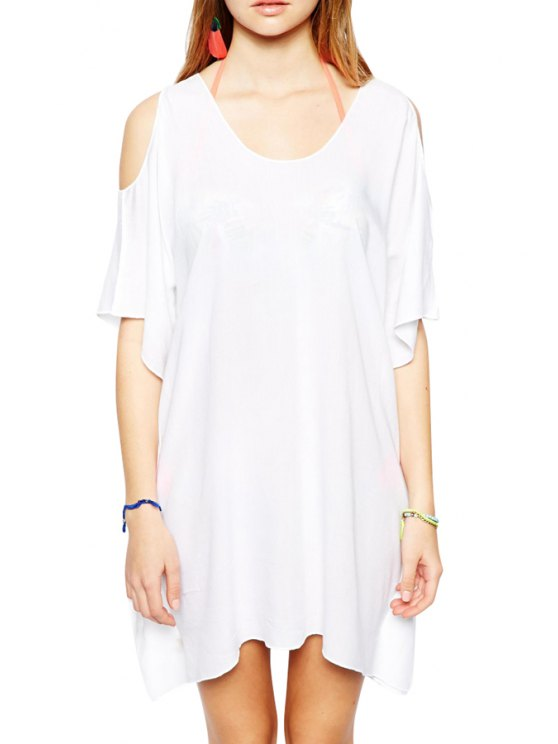 fashion Short Sleeve Solid Color Hollow Dress - WHITE L