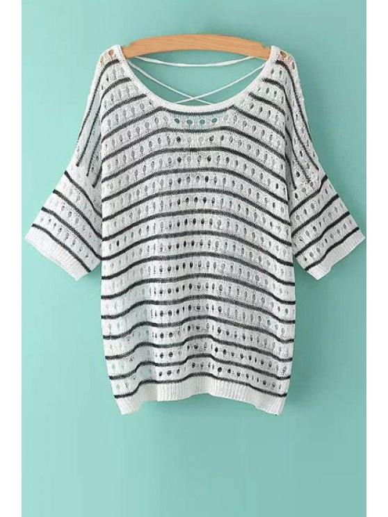 latest Stripe Polka Dot Openwork Half Sleeve Sweater - WHITE ONE SIZE(FIT SIZE XS TO M)