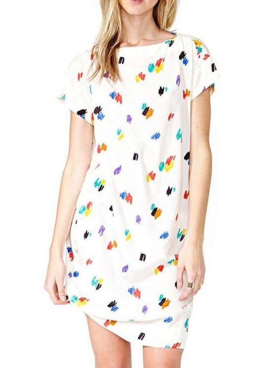 online Colorful Print Short Sleeve Dress - WHITE S