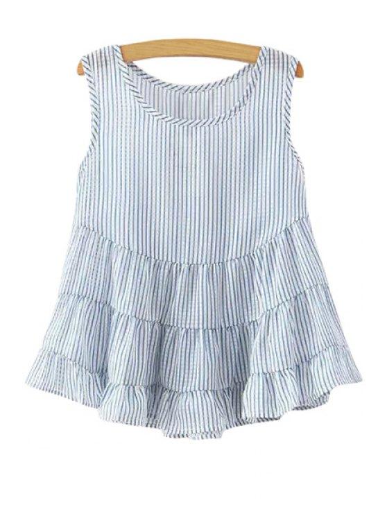 fashion Jewel Neck Stripe Flounce Splicing Tank Top - LIGHT BLUE S