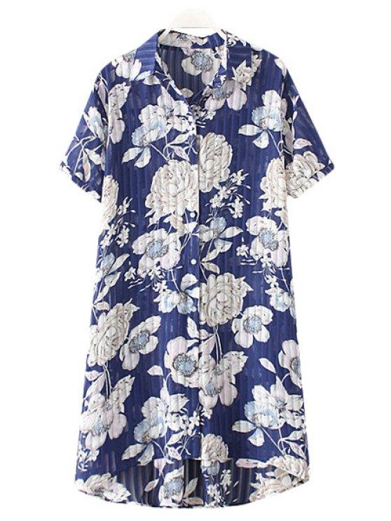 trendy Shirt Collar Chiffon Flower Print Single-Breasted Blouse - BLUE 2XL