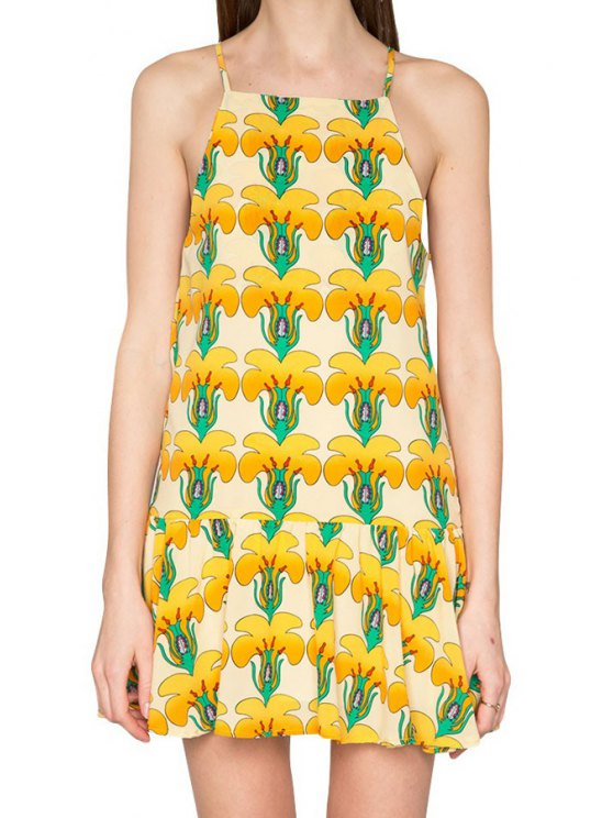 chic Full Flowers Print Spaghetti Strap Dress - AS THE PICTURE S