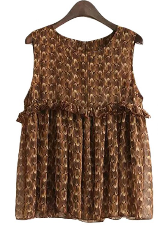online Feather Print Flounce Splicing Sleeveless Tank Top - BROWN S