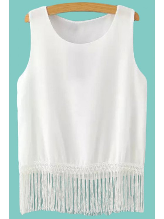 buy Solid Color Fringe Splicing Tank Top - WHITE S