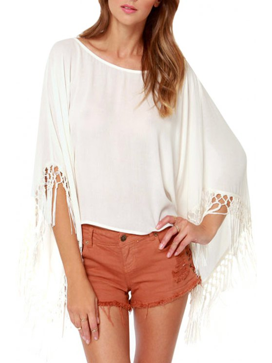 trendy Bat-Wing Sleeve White Backless Blouse - WHITE S