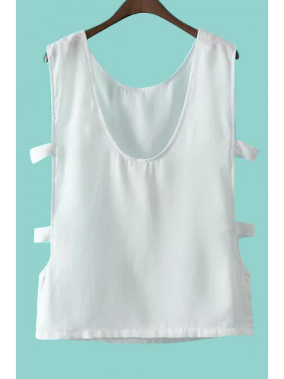 outfit Side Openwork Solid Color Tank Top - WHITE S