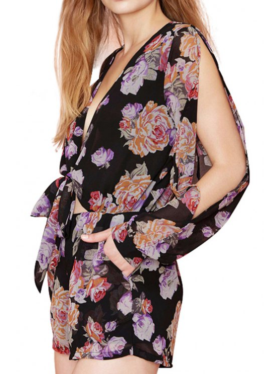 affordable Floral Plunging Neck Chiffon Romper - AS THE PICTURE S
