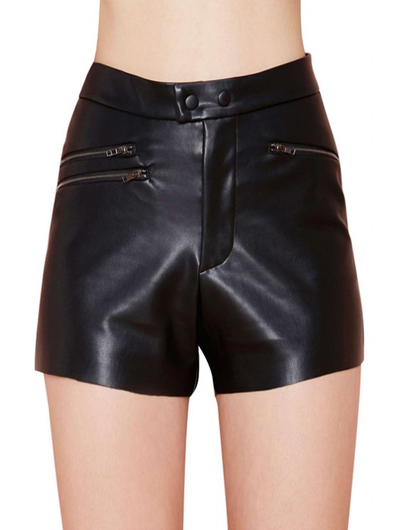 new Black PU Leather High Waisted Shorts - BLACK S
