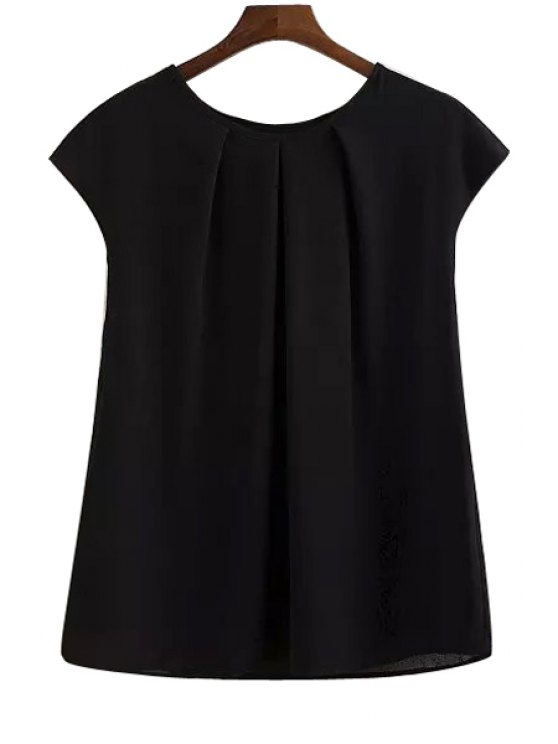 lady Solid Color Ruffle Short Sleeve T-Shirt - BLACK L