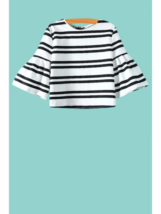 fashion Puff Sleeve Striped Zippered Blouse - WHITE AND BLACK XS