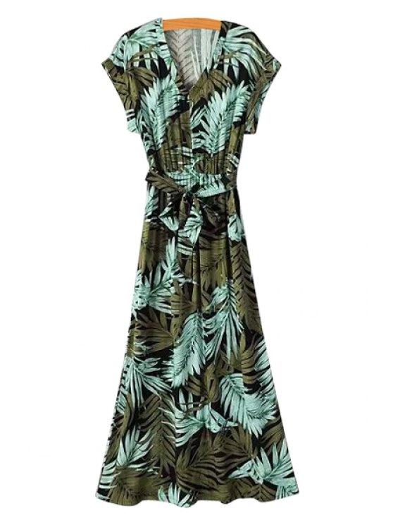 fashion V-Neck Tropical Print Tie-Up Maxi Dress - GREEN S