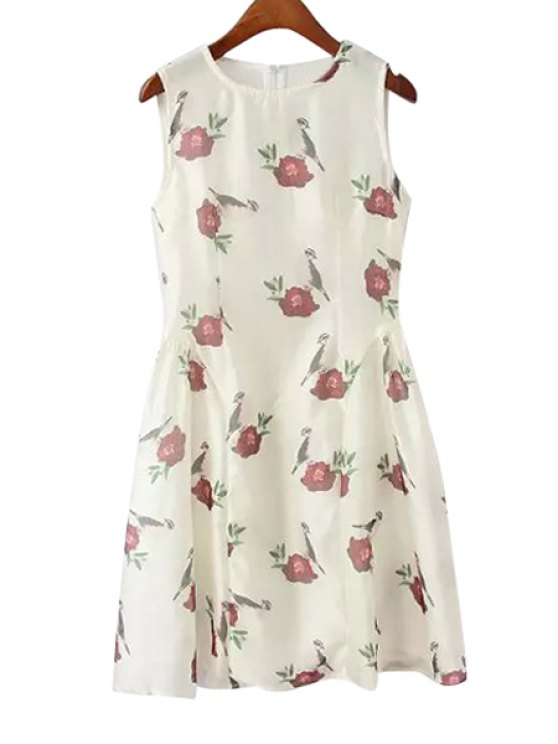 shops Round Neck Bird and Rose Print Midi Dress - WHITE S