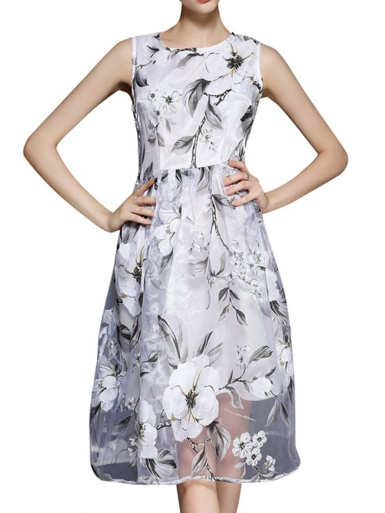 buy Floral Voile A Line Sundress - WHITE S