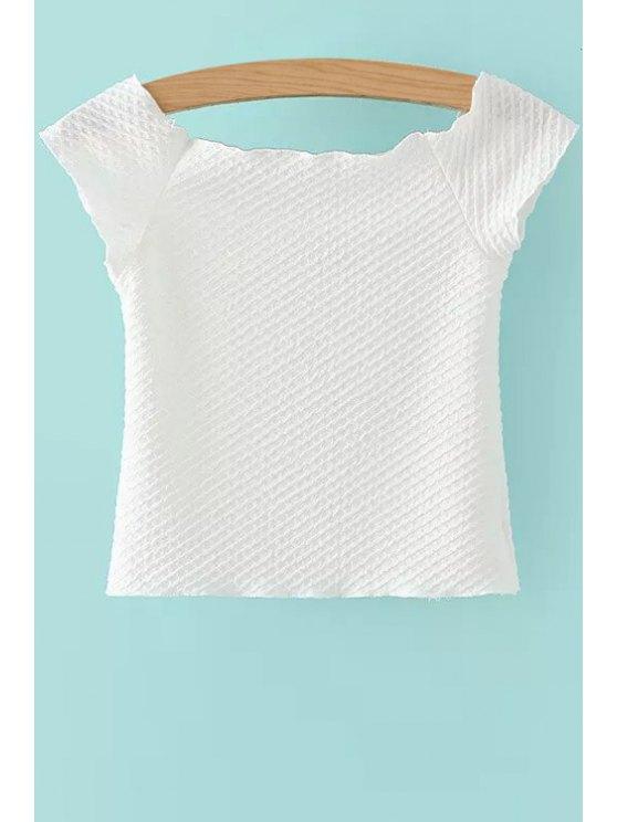 ladies Solid Color Slash Neck CropTop - WHITE S