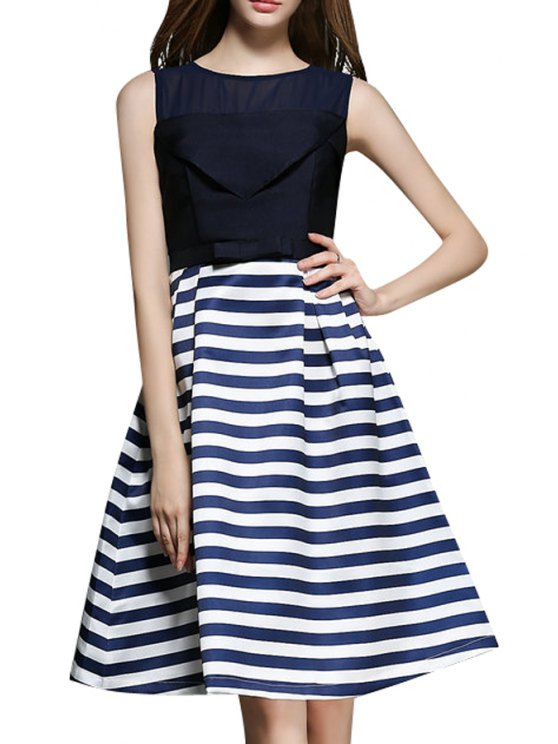 shops Stripe Spliced A Line Midi Sundress - PURPLISH BLUE S