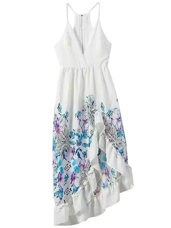 chic Asymmetrical Floral Print Sleeveless Dress - AS THE PICTURE S