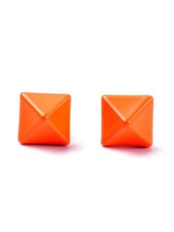 women's Pair of Cute Square Shape Earrings For Women - ORANGE