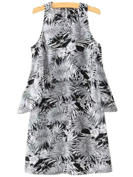 hot Leaves Print Hollow Out Sleeveless Dress - AS THE PICTURE S