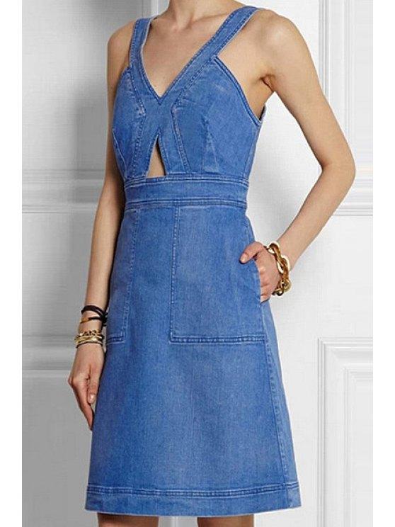 women Solid Color Denim Sleeveless A Line Dress - PURPLISH BLUE S