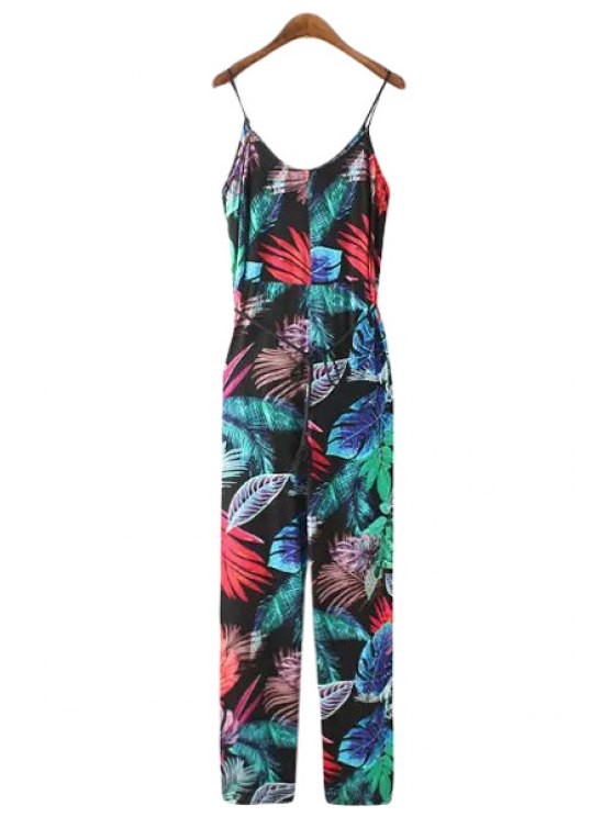 new Tropical Print Spaghetti Straps Jumpsuit - AS THE PICTURE S