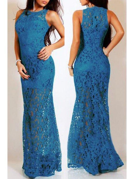 unique Lace Round Neck Sleeveless Maxi Dress - BLUE M