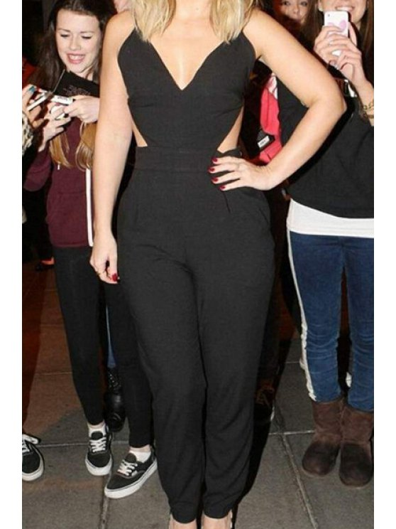 outfits Black Spaghetti Straps Backless Jumpsuit - BLACK S