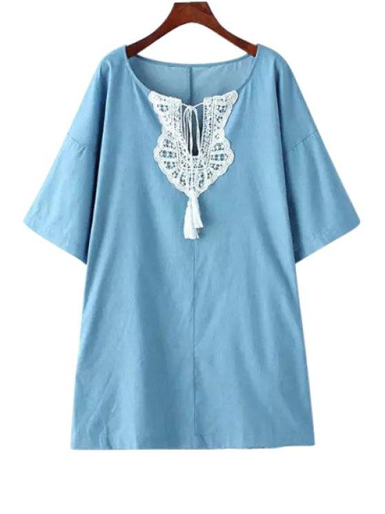 trendy Half Sleeve Lace Spliced Lace-Up Denim Dress - LIGHT BLUE M