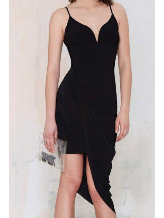 fancy Bodycon Black Spaghetti Straps Dress - BLACK S