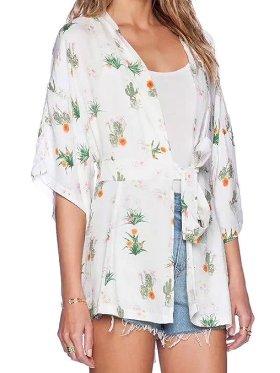 chic Collarless Floral Print Tie-Up Blouse - WHITE S