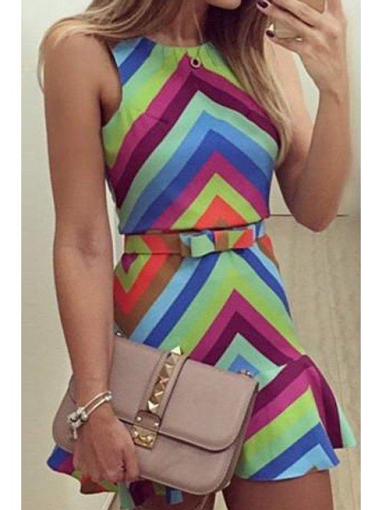 online Zig Zag Color Block Sleeveless Dress - COLORMIX S