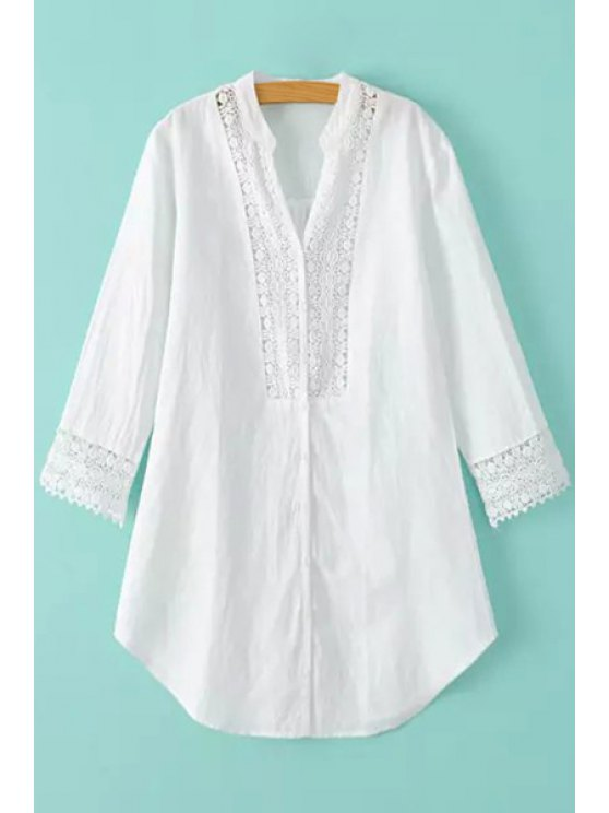 sale Stand Neck Lace Spliced White Blouse - WHITE M