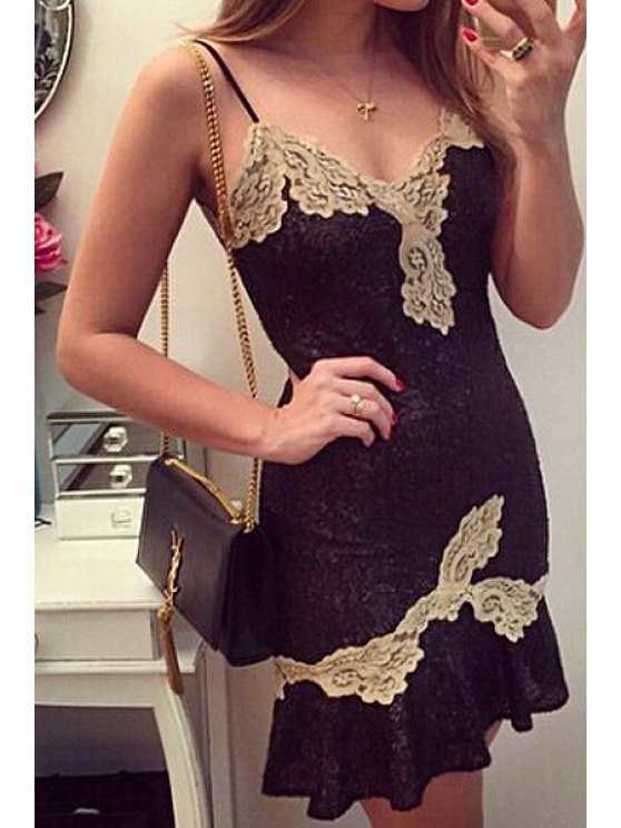 lady Spaghetti Strap Lace Splicing Backless Dress - GOLDEN ONE SIZE(FIT SIZE XS TO M)