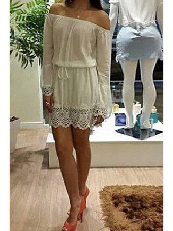 online Slash Neck Off-The-Shoulder Lace Splicing Dress - WHITE S