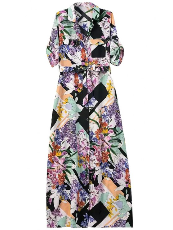 online Floral Print Single-Breasted Chiffon Maxi Dress - COLORMIX L