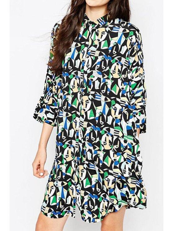 online Abstract Print 3/4 Sleeve Shirt Dress - BLACK S