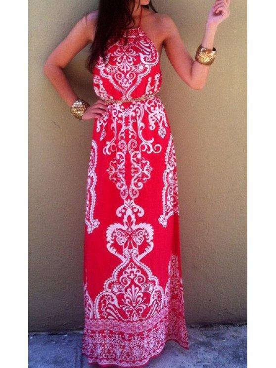 shops Bohemian Halter Tribal Print Maxi Dress For Women - RED L