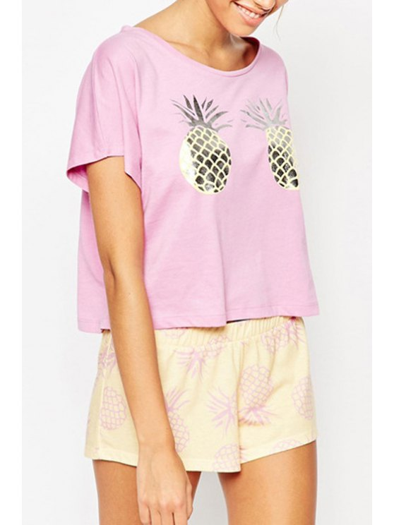 lady Pineapple Print Short Sleeves T-Shirt - PINK S