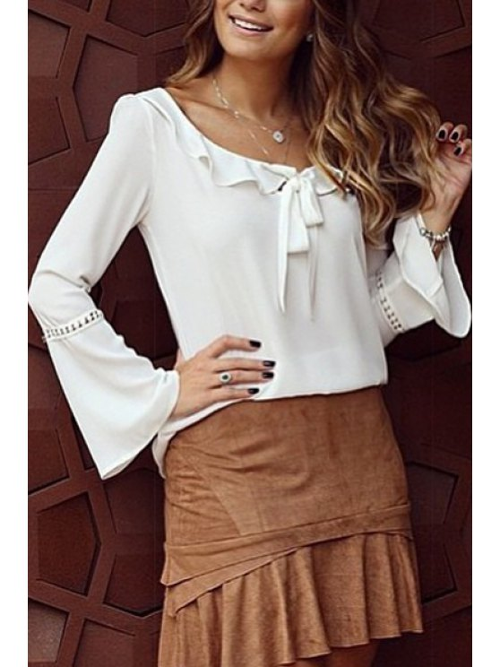 fancy Flounce Splicing Bowknot Long Sleeve T-Shirt - WHITE S