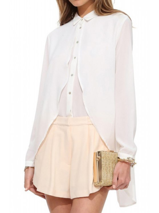 latest Spliced Long Sleeve Chiffon Shirt - WHITE S