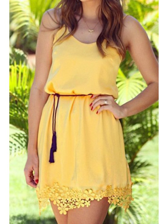 fancy Spaghetti Strap Lace Splicing Yellow Belt Dress - YELLOW M