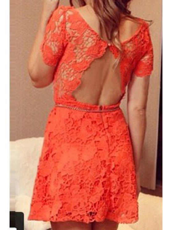 outfit Backless Lace Solid Color Short Sleeve Dress - ORANGE S
