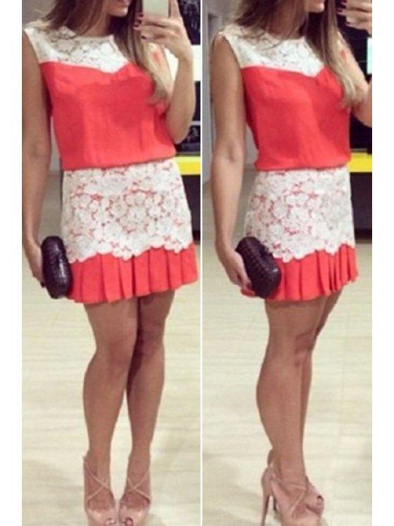 women's Lace Splicing Pleated Sleeveless Dress - WATERMELON RED M