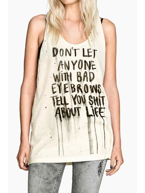 women's Letters Print Scoop Collar Tank Top - OFF-WHITE S