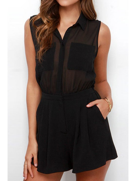 latest Black Sleeveless Backless Romper - BLACK S