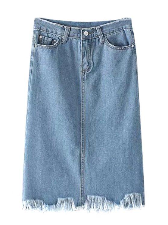 fashion High-Waisted Denim Packet Buttock Skirt - BLUE S